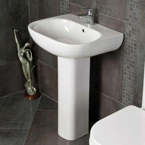 Rak Tonique 550mm Basin & Full Pedestal - 1 Tap Hole